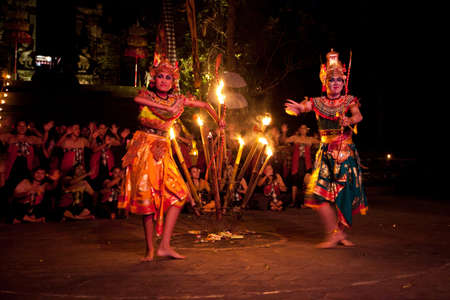 chant: BALI, INDONESIA - APRIL 4: Presentation of traditional balinese Women Kecak Fire Dance show on April 4, 2012 on Bali, Indonesia. Kecak (also known as Ramayana Monkey Chant) is very popular cultural show on Bali.