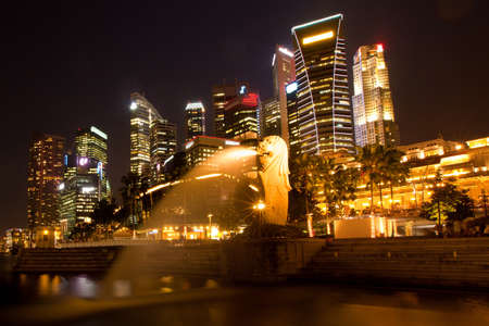 A view of Singapore, in the night time photo