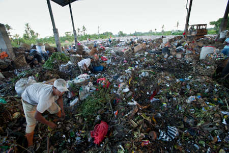 scavenging: BALI, INDONESIA - APRIL 11: Poor people from Java island working in a scavenging at the dump on April 11, 2012 on Bali, Indonesia. Bali daily produced 10,000 cubic meters of waste. Editorial