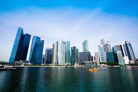 singapore city: Skyscrapers of Singapore business district Marina Bay  Stock Photo