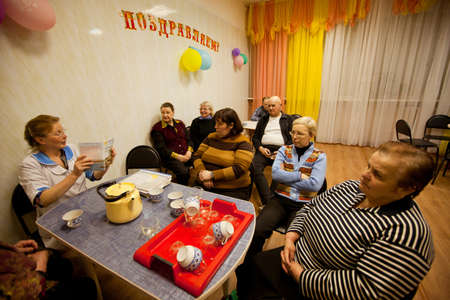 PODPOROZHYE, RUSSIA - MAY 3: Day of Health in Center of social services for pensioners and the disabled Otrada (Lectures in the tea room), May 3, 2012 in Podporozhye, Russia.