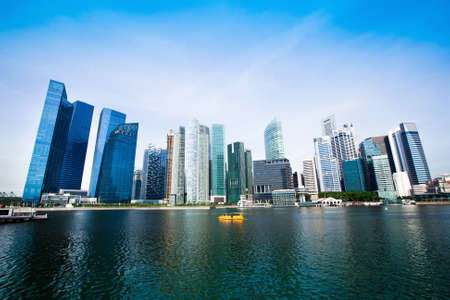 riverside landscape: Skyscrapers of Singapore business district Marina Bay  Stock Photo