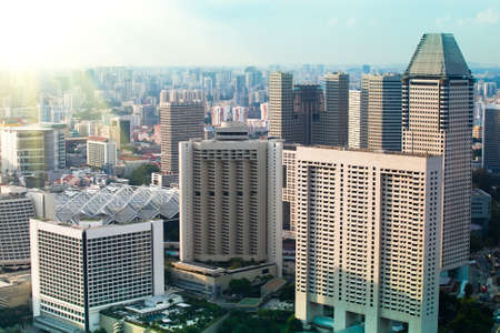 cbd: New modern buildings near to the historical centre of Singapore  Stock Photo