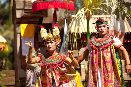 BALI, INDONESIA - APRIL 9: Balinese actors during a classic national Balinese dance Barong on April 9, 2012 on Bali, Indonesia. Barong is very popular cultural show on Bali. Stock Photo - 13744301