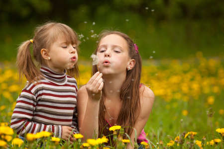 Cute 5 year old and 11 year old girls blowing dandelion seeds away  Stock Photo