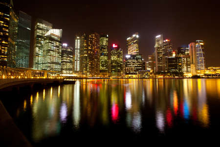 Singapore business district in the night time with water reflections Stock Photo - 14284655