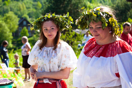 VINNICI, LENINGRAD REGION, RUSSIA - JUNE 10: Local people during celebrate the annual holiday Vepsian national culture Tree of Life (vepssk.Elo-pu), June 10, 2012 in the village Vinnici, Russia. Editorial