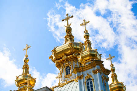 The domes with crosses Grand Palace Peterhof, Petrodvorets, Saint-Petersburg, Russia photo