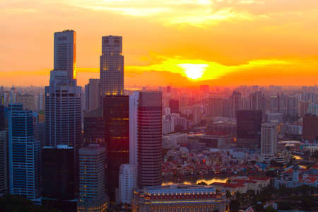 Singapore in the evening at sunset  photo