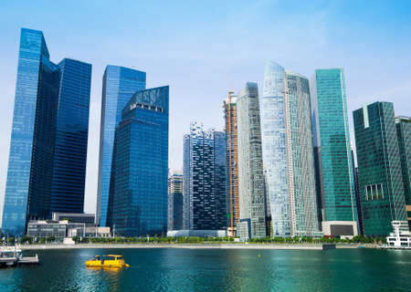 Skyline of modern business district in Singapore. photo