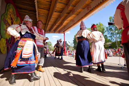 VINNICI, LENINGRAD REGION, RUSSIA - JUNE 10: Local people during celebrate the annual holiday Vepsian national culture Tree of Life (vepssk.Elo-pu), June 10, 2012 in the village Vinnici, Russia. Stock Photo - 14819022