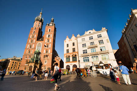 KRAKOW, POLAND - JULY 18: The historical center of Krakow, May 18, 2012 in Krakow, Poland. This year the city was visited by 8.1 million tourists, which is the highest level, the number of foreign tourists reached 2 million. Stock Photo - 14819212
