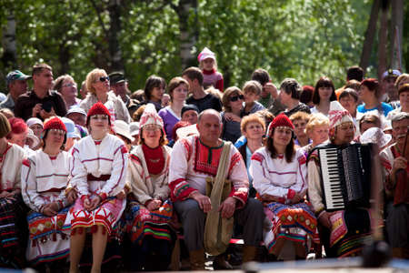 VINNICI, LENINGRAD REGION, RUSSIA - JUNE 10: Local people during celebrate the annual holiday Vepsian national culture Tree of Life (vepssk.Elo-pu), June 10, 2012 in the village Vinnici, Russia. Stock Photo - 14819655