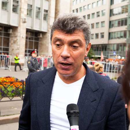 boris: MOSCOW - 15 SEPTEMBER: One of the opposition leaders, former first deputy prime minister Boris Nemtsov, during an anti-Putin protest in central  on September 15, 2012 in Moscow.  Editorial