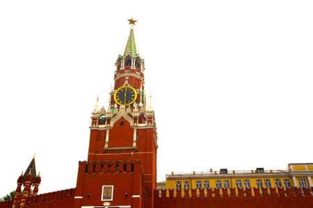 Russia, Spasskaya tower of Moscow Kremlin, in white background  photo