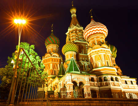 St Basils cathedral on Red Square in Moscow at night photo
