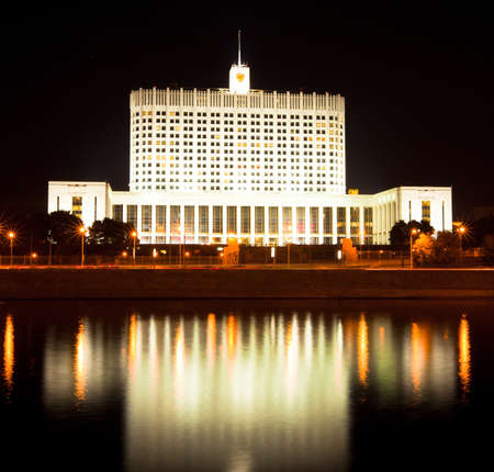 reflektion: Russian White House in night  Moscow, Russia