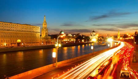 Embankment of the Moskva River near Kremlin in the evening  photo