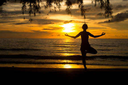 A woman practicing yoga on beach at sunset Stock Photo - 16482282