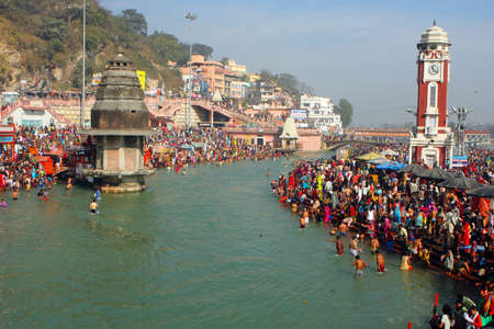 puja: Puja ceremony on the banks of Ganga, people celebrate Makar Sankranti, Jan 14, 2009 in Haridwar, India. Makar Sankranti huge Religious festival regarding Sun and Harvest.