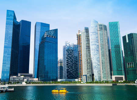 malaya:  View of skyscrapers in Marina Bay on Singapore   Stock Photo