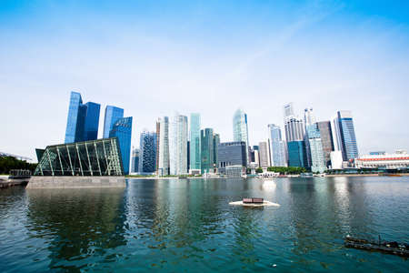 sea life centre: The business district of Singapore Stock Photo