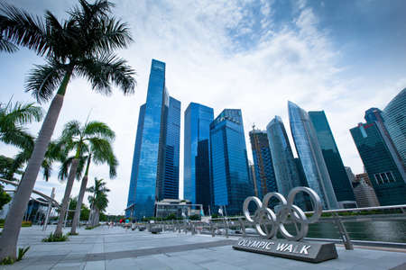 subsequently: SINGAPORE - APRIL 14: Olympic rings in Marina Bay on April 14, 2012 in Singapore. The Singapore National Olympic Council was founded in 1947 as SOSC, and subsequently renamed in 1970.