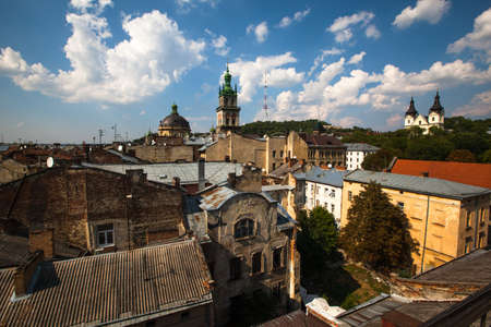 judged: LVIV, UKRAINE - AUG 6: City view from roof historic building House of Legends on Aug 6, 2012 in Lviv, Ukraine. On 2009 Ukrainian magazine Focus judged Lviv best Ukrainian city to live.