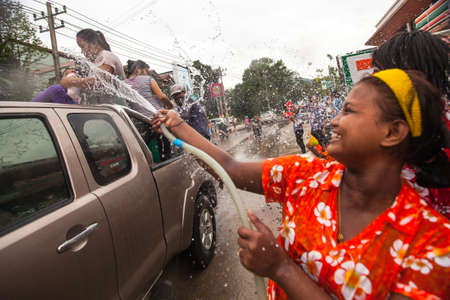 celebrated: KO CHANG, THAILAND - APR 13: People celebrated Songkran Festival, on 13 Apr 2013 on Ko Chang, Thailand. Songkran is celebrated in Thailand as the traditional New Years Day from 13 to 16 April.