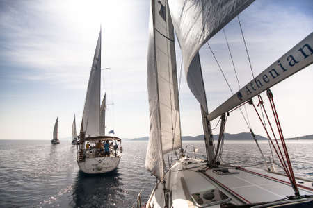 HYDRA, GREECE- MAY 7: Boats Competitors During of 9th spring sailing regatta Ellada 2013, May 7, 2013 in Hydra, Greece.