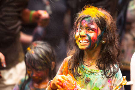 celebrated: KUALA LUMPUR, MALAYSIA - MAR 31: People celebrated Holi Festival of Colors, Mar 31, 2013 in Kuala Lumpur, Malaysia. Holi, marks the arrival of spring, being one of the biggest festivals in Asia. Editorial