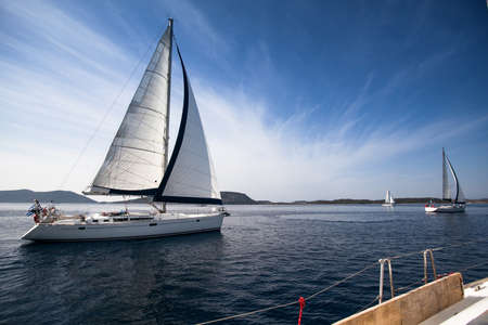 the yacht: Sailing yacht race, picture with space for text or logos Stock Photo