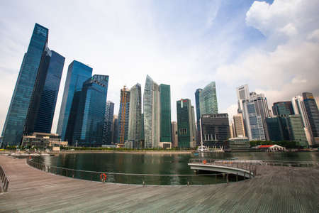 dynamically: SINGAPORE - APR 15: A view of city in Marina Bay business district on Apr 15, 2012 on Singapore. Asian financial center the city state is one of the most dynamically developing countries in the world. Editorial