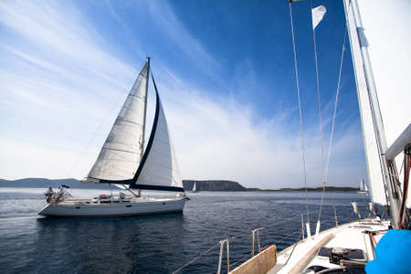 Regatta on the sea. Sailboat. Yachting. Sailing. Travel Concept. Vacation. photo