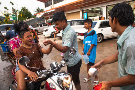 celebrated: KO CHANG, THAILAND - APR 14: People celebrated Songkran Festival, on 14 Apr 2013 on Ko Chang, Thailand. Songkran is celebrated in Thailand as the traditional New Years Day from 13 to 16 April.