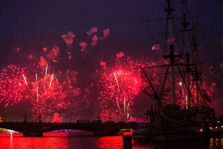 grew: ST.PETERSBURG, RUSSIA - JUNE 24: Celebration Scarlet Sails show during the White Nights Festival, June 24, 2013, St. Petersburg, Russia. From 2010, public attendance grew to 3 million.