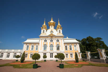 double headed: PETERHOF, RUSSIA - JULY 1: Peterhof Palace near St. Petersburg, Russia, May 1, 2012 in Peterhof, Russia. The name was changed to Petrodvorets in 1944, the original name was restored in 1997.