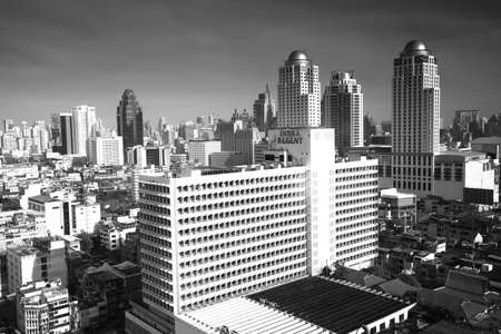 amasing: BANGKOK - APR 23: A view on the city from Bayok Sky hotel (bw photo) on Apr 23, 2012 in Bangkok, Thailand. Baiyoke Sky the tallest hotel in Southeast Asia and the 3-tallest all hotel in the world.
