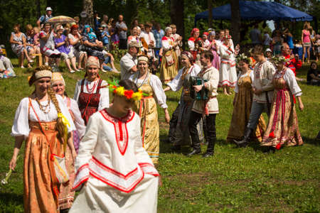 TERVENICHI, RUSSIA - JUL 7: Local people celebrated Ivan Kupala Day, Jul 7, 2013, Tervenichi, Russia. The celebration relates to the summer solstice and includes a number of fascinating Pagan rituals. Editorial