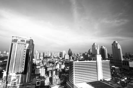 state of mood: BANGKOK - APR 23: A view on the city from Bayok Sky hotel (bw photo) on Apr 23, 2012 in Bangkok, Thailand. Baiyoke Sky the tallest hotel in Southeast Asia and the 3-tallest all hotel in the world.