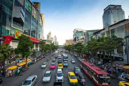 BANGKOK - APRIL 23: Traffic jam along a busy road in the city center on April 23, 2012 in Bangkok, Thailand.