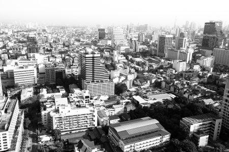amasing: Birds-eye view of Bangkok, Thailand (black and white photo)
