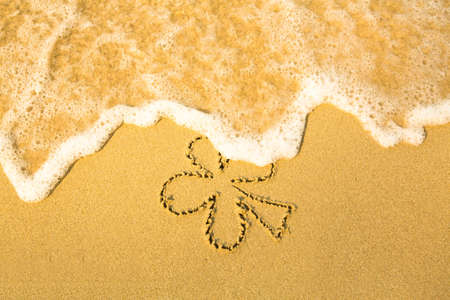 st: Clover leaf (concept: St. Patrick Day) - written in sand on beach texture - soft wave of the sea