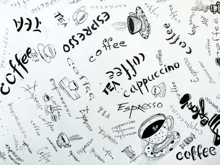 Concept of coffee: Sketches in ink on white paper. photo