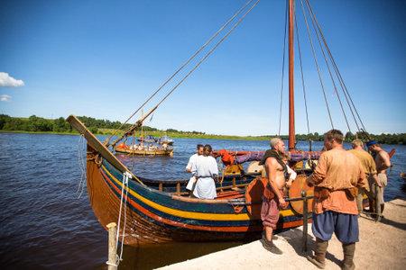 STARAYA LADOGA, RUSSIA - JULY 13: Unidentified participants during of international historical festival of medieval culture Ladogafest-2013 (12-14 of Jul) on July 13, 2013 on Staraya Ladoga, Russia.