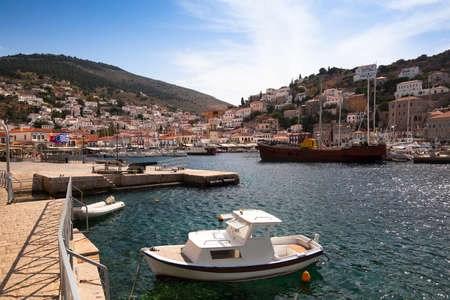 View of Hydra town in Greece photo