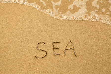 Sea - written by hand in sand on a sea beach photo