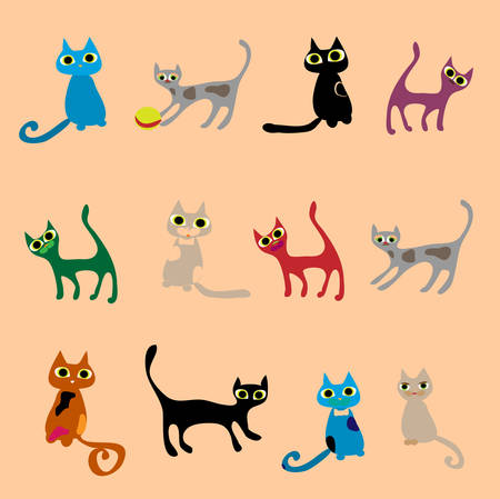 Cats. Vector set in gentle tones. Stock Vector - 22405746