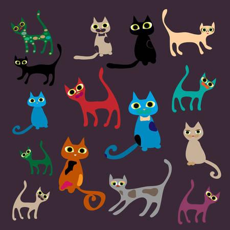 Vector set of cute cartoon cats. Vector