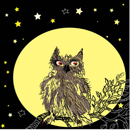 Owl, sitting on the tree brunches against the background of the Moon. Vector. Vector